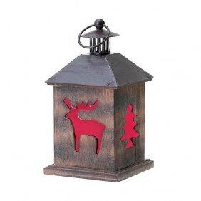 Winter Cabin Wooden Lantern