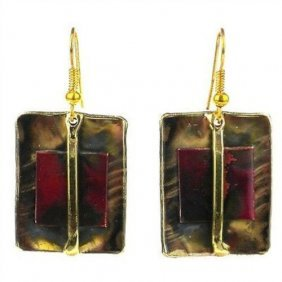 Square On Square Copper And Brass Earrings - Brass Imag