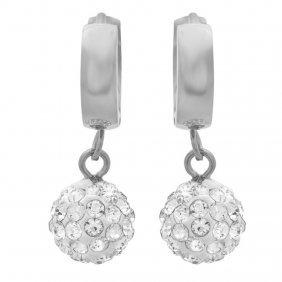 Stainless Steel Cz Fireball Huggie Earrings