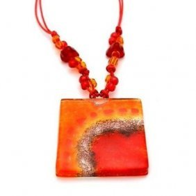 Lava Translucent Square Fused Glass Pendant Necklace -