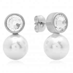 Earrings With Simulated Pearl And Swarovski Element Sto
