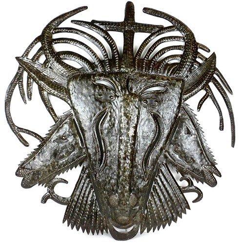 Haitian Metal Wall Art - Three Faced Goat - 001 - Croix