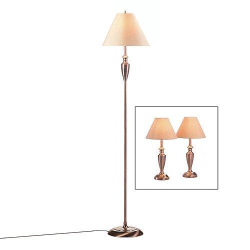 Contemporary Copper Lamp Trio