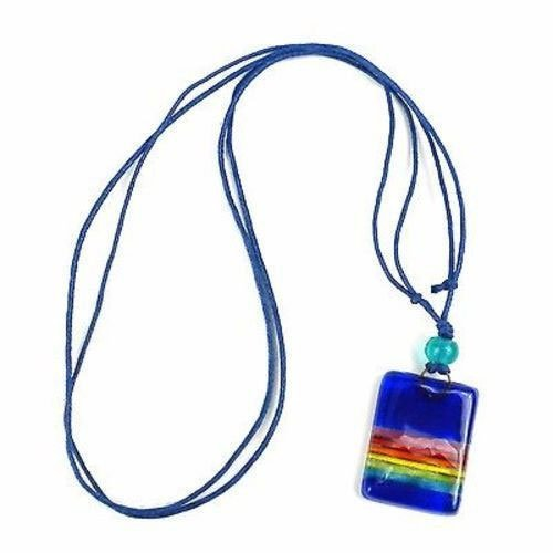 Deep Blue Rainbow Fused Glass Pendant Necklace - Tili G