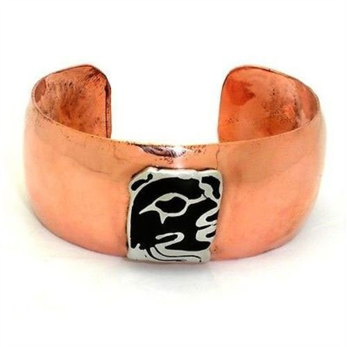 Copper Cuff with Alpaca Silver Mayan Glyph - Artisana