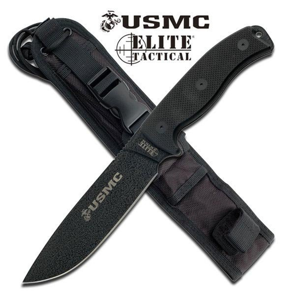 OFFICIALLY LICENSED USMC ELITE TACTICAL FIXED BLADE KNI