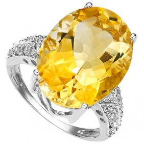 Genuine 5.06 Ctw Citrine And Diamond Platinum Plated .9