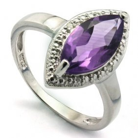 Genuine 1.63 Ctw Amethyst And Diamond Platinum Plated .