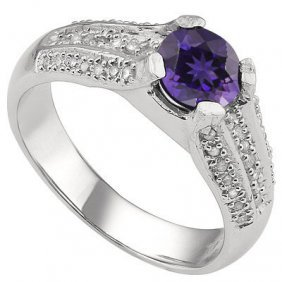 Genuine 1.18 Ctw Amethyst And Diamond Platinum Plated .