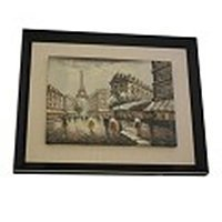 Wooden Framed Eiffel Tower Oil Painting