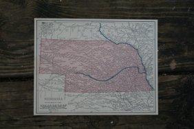 Genuine Authentic 1930 Map Of Nebraska