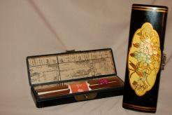 Wood And Brass Chopsticks With Case