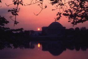 Sunset Over The Jefferson Memorial 12x18 Giclee On Canv