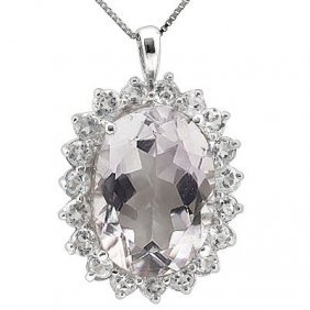 Genuine 12.90 Ctw Pink Amethyst And Cz Platinum Plated