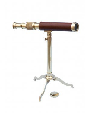 """Nautical Solid Brass Wooden Telescope On Stand 17"""""""
