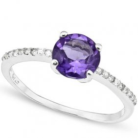 Genuine 1.35 Ctw Amethyst And White Sapphire Platinum P