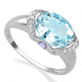 Genuine 3.53 Ctw Blue Topaz And Tanzanite Platinum Plat