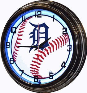 "17"" Detroit Tigers Neon Wall Clock"