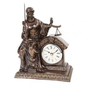 Lady Justice Clock Statue