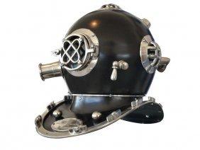 "Collectible Solid Chrome 17"" Mark V Black Divers Helmet"