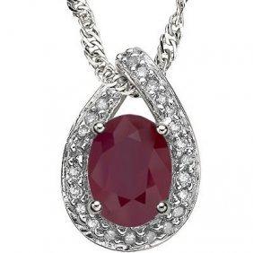 Genuine .60 Ctw Ruby And Diamond Platinum Plated .925 S