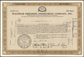 Stock Certificate From The Waltham Precision Instrument