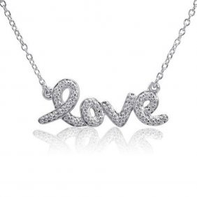 Sterling Silver Love Necklace W/ Diamond
