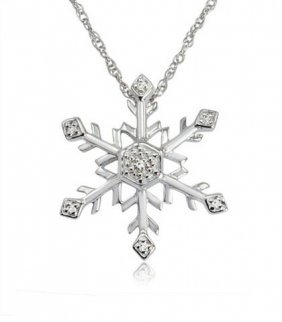 Diamond Snowflake Necklace In .925 Sterling Silver