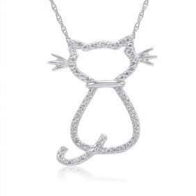 Diamond Accent Cat Necklace In Sterling Silver
