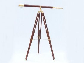 Nautical Floor Standing Brass/wood Galileo Telescope 65