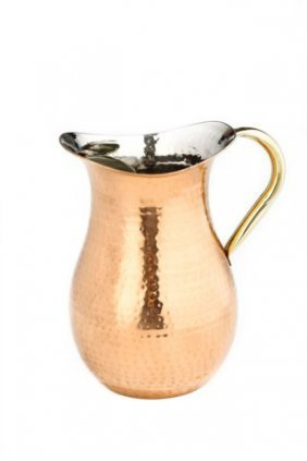 2 Qt Decor Copper Hammered Water Pitcher W/brass Ice