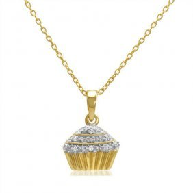 14k Gold Plated Sterling Silver Diamond Cupcake Necklac