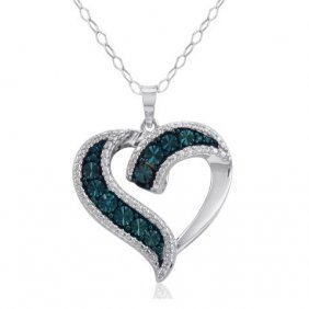 .925 Sterling Silver Blue Diamond Heart Necklace