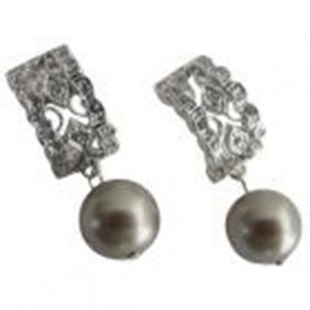 Drop Earrings In Platinum Champagne