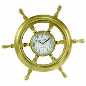 """Antique Style Nautical Solid Brass 18"""" Ship Wheel Clock"""