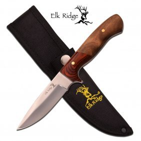 "Elk Ridge 8.5"" Fixed Blade Knife; Burl Wood And Pakkawo"