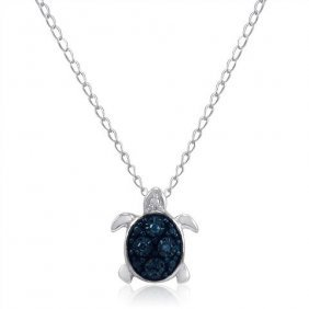 Blue Diamond Turtle Necklace In .925 Sterling Silver