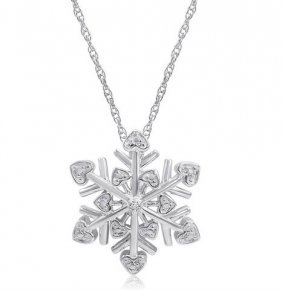 Diamond Snowflake Heart Necklace In .925 Sterling Silve