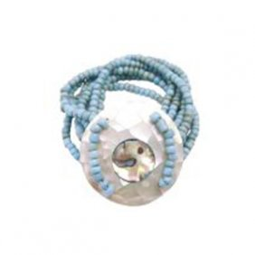 Classy Turquiose Beads Stretchable Bracelet Round Shell