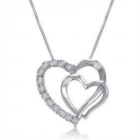 Sterling Silver .05 Ctw Diamond Heart Pendant-necklace
