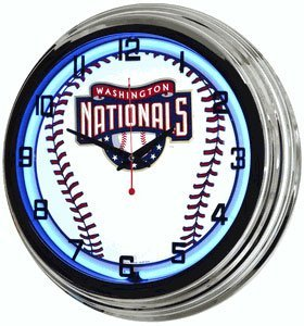 "Blue Neon 17"" Mlb Clock"