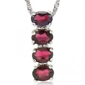 Genuine 3.00 Ctw Garnet And Diamond Platinum Plated .92