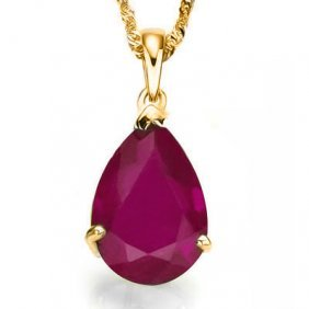 Genuine 0.50 Ctw Ruby 10k Solid Yellow Gold Pendant