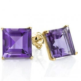 Genuine 1.00 Ctw Amethyst 10k Solid Yellow Gold Earring