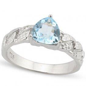 Genuine 1.34 Ctw Blue Topaz And Diamond Platinum Plated