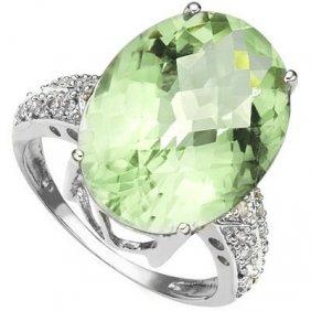 Genuine 5.21 Ctw Green Amethyst And Diamond Platinum Pl