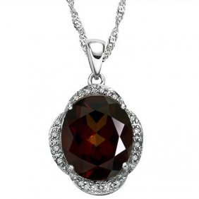 Genuine 4.01 Ctw Garnet And Diamond Platinum Plated .92