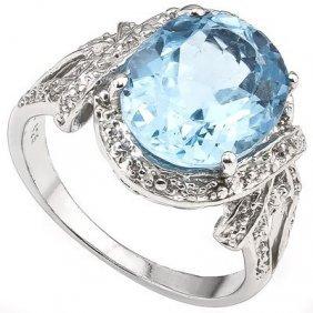 Genuine 5.60 Ctw Blue Topaz And White Diamond Platinum
