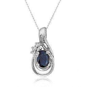 14k White Gold Sapphire/diamond Necklace