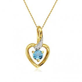 14k Yellow Gold Blue Topaz/diamond Heart Necklace
